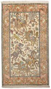 Kashmir 100% Silkki Matto 91X159 Itämainen Käsinsolmittu Tummanbeige/Beige (Silkki, Intia)