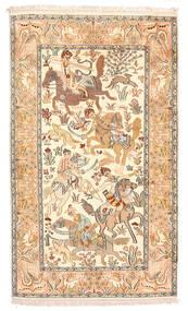 Kashmir 100% Silkki Matto 92X154 Itämainen Käsinsolmittu Beige/Tummanbeige (Silkki, Intia)