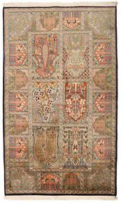 Kashmir 100% Silkki Matto 94X157 Itämainen Käsinsolmittu Vaaleanruskea/Beige (Silkki, Intia)