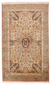 Kashmir 100% Silkki Matto 95X159 Itämainen Käsinsolmittu Ruskea/Tummanbeige (Silkki, Intia)