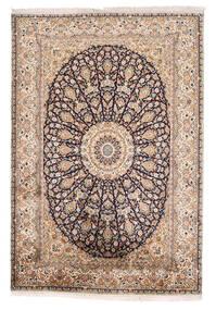 Kashmir 100% Silkki Matto 125X185 Itämainen Käsinsolmittu Beige/Vaaleanruskea (Silkki, Intia)