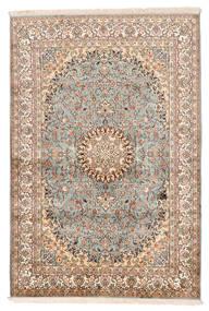 Kashmir 100% Silkki Matto 127X188 Itämainen Käsinsolmittu Beige/Tummanruskea (Silkki, Intia)