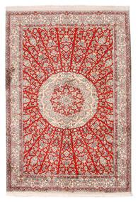 Kashmir 100% Silkki Matto 129X188 Itämainen Käsinsolmittu Vaaleanharmaa/Beige (Silkki, Intia)