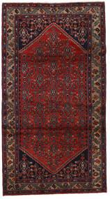 Asadabad Matto 112X210 Itämainen Käsinsolmittu Tummanpunainen/Tummanharmaa (Villa, Persia/Iran)