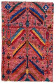 Moroccan Berber - Afghanistan Matto 120X180 Moderni Käsinsolmittu Tummanpunainen/Punainen (Villa, Afganistan)