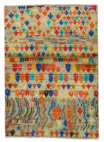 Moroccan Berber - Afghanistan Matto 96X136 Moderni Käsinsolmittu Vaaleanvihreä/Punainen (Villa, Afganistan)