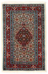 Moud Matto 59X89 Itämainen Käsinsolmittu Tummanruskea/Tummanpunainen (Villa/Silkki, Persia/Iran)