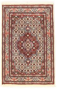 Moud Matto 56X89 Itämainen Käsinsolmittu Tummanruskea/Tummanpunainen (Villa/Silkki, Persia/Iran)