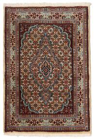 Moud Matto 61X88 Itämainen Käsinsolmittu Tummanruskea/Vaaleanruskea (Villa/Silkki, Persia/Iran)