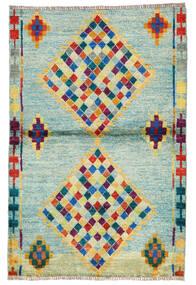 Moroccan Berber - Afghanistan Matto 95X143 Moderni Käsinsolmittu Pastellinvihreä/Siniturkoosi (Villa, Afganistan)