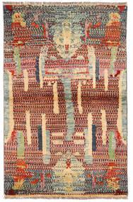 Moroccan Berber - Afghanistan Matto 99X154 Moderni Käsinsolmittu Tummanpunainen/Vaaleanruskea (Villa, Afganistan)