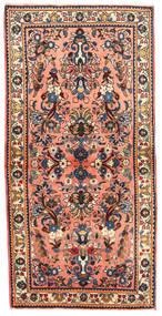 Sarough Matto 67X137 Itämainen Käsinsolmittu Tummanharmaa/Vaaleanpunainen (Villa, Persia/Iran)