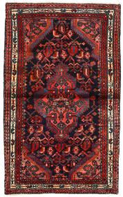 Hamadan Matto 77X128 Itämainen Käsinsolmittu Musta/Tummanpunainen (Villa, Persia/Iran)
