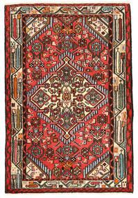 Hamadan Matto 80X120 Itämainen Käsinsolmittu Tummanruskea/Punainen (Villa, Persia/Iran)