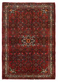 Hosseinabad Matto 79X113 Itämainen Käsinsolmittu Tummanpunainen/Tummanruskea (Villa, Persia/Iran)