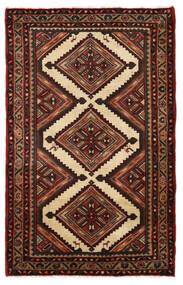 Hamadan Matto 78X126 Itämainen Käsinsolmittu Tummanruskea/Tummanpunainen (Villa, Persia/Iran)