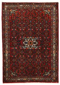 Hosseinabad Matto 79X115 Itämainen Käsinsolmittu Tummanruskea/Tummanpunainen (Villa, Persia/Iran)