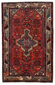 Hamadan Matto 77X120 Itämainen Käsinsolmittu Tummanruskea/Tummanpunainen (Villa, Persia/Iran)