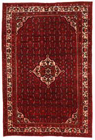 Hosseinabad Matto 201X303 Itämainen Käsinsolmittu Tummanruskea/Punainen/Tummanpunainen (Villa, Persia/Iran)