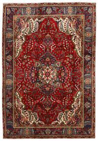 Tabriz Matto 202X300 Itämainen Käsinsolmittu Musta/Tummanpunainen (Villa, Persia/Iran)