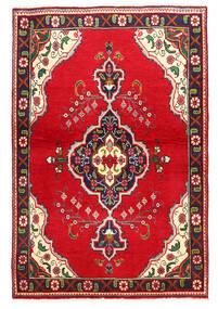 Tabriz Matto 100X149 Itämainen Käsinsolmittu Punainen/Tummanvioletti (Villa, Persia/Iran)