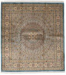Kashmir 100% Silkki Matto 179X193 Itämainen Käsinsolmittu Neliö Vaaleanruskea/Vaaleanharmaa (Silkki, Intia)