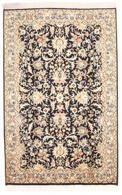 Kashmir 100% Silkki Matto 78X123 Itämainen Käsinsolmittu Beige/Tummanvioletti (Silkki, Intia)