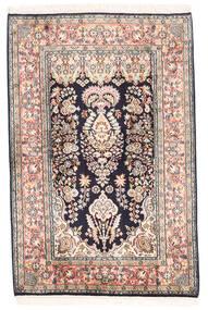 Kashmir 100% Silkki Matto 82X124 Itämainen Käsinsolmittu Musta/Beige (Silkki, Intia)