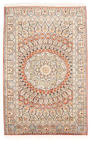 Kashmir 100% Silkki Matto 85X128 Itämainen Käsinsolmittu Beige/Tummanruskea (Silkki, Intia)