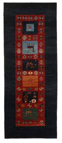 Gabbeh Loribaft Matto 92X235 Moderni Käsinsolmittu Käytävämatto Tummanharmaa/Tummanpunainen (Villa, Intia)