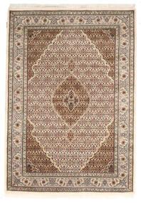 Tabriz Royal Matto 142X205 Itämainen Käsinsolmittu Tummanruskea/Vaaleanharmaa ( Intia)