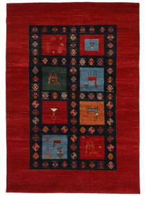 Gabbeh Loribaft Matto 152X218 Moderni Käsinsolmittu Tummanpunainen/Musta (Villa, Intia)