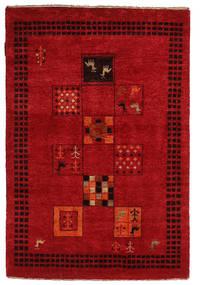 Gabbeh Loribaft Matto 88X129 Moderni Käsinsolmittu Punainen/Tummanpunainen (Villa, Intia)