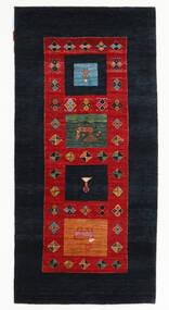 Gabbeh Loribaft Matto 95X199 Moderni Käsinsolmittu Käytävämatto Tummansininen/Ruoste (Villa, Intia)
