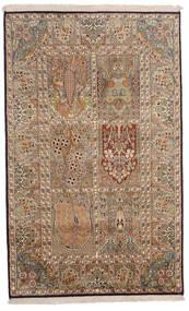 Kashmir 100% Silkki Matto 96X154 Itämainen Käsinsolmittu Ruskea/Vaaleanruskea (Silkki, Intia)