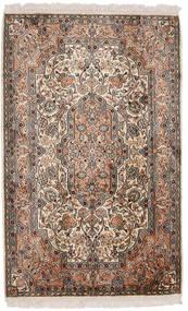Kashmir 100% Silkki Matto 81X129 Itämainen Käsinsolmittu Ruskea/Tummanharmaa (Silkki, Intia)