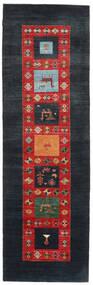 Gabbeh Loribaft Matto 92X295 Moderni Käsinsolmittu Käytävämatto Tummansininen/Ruoste (Villa, Intia)