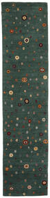 Loribaf Loom Matto 82X339 Moderni Käsinsolmittu Käytävämatto Tummanvihreä (Villa, Intia)