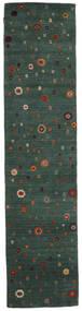 Loribaf Loom Matto 82X341 Moderni Käsinsolmittu Käytävämatto Tummanvihreä/Tummansininen (Villa, Intia)