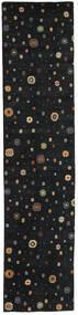 Loribaf Loom Matto 79X343 Moderni Käsinsolmittu Käytävämatto Musta (Villa, Intia)
