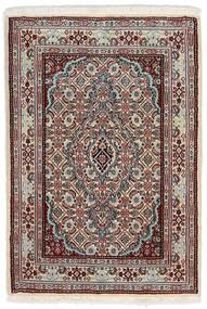 Moud Matto 62X90 Itämainen Käsinsolmittu Vaaleanharmaa/Tummanruskea (Villa/Silkki, Persia/Iran)