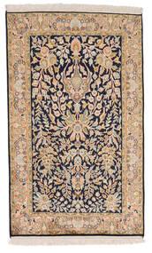 Kashmir 100% Silkki Matto 77X127 Itämainen Käsinsolmittu Tummanvioletti/Ruskea (Silkki, Intia)