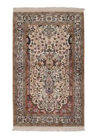 Kashmir 100% Silkki Matto 81X131 Itämainen Käsinsolmittu Valkoinen/Creme/Tummanruskea (Silkki, Intia)