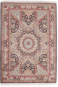 Kashmir 100% Silkki Matto 123X184 Itämainen Käsinsolmittu Tummanpunainen/Tummanruskea (Silkki, Intia)