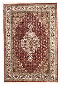 Tabriz Royal Matto 142X205 Itämainen Käsinsolmittu Tummanruskea/Vaaleanruskea ( Intia)