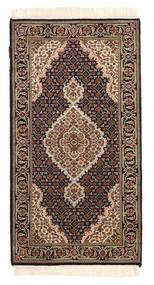Tabriz Royal Matto 74X138 Itämainen Käsinsolmittu Tummanruskea/Vaaleanruskea ( Intia)