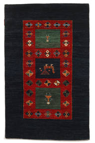 Gabbeh Loribaft Matto 95X150 Moderni Käsinsolmittu Musta/Tummanpunainen (Villa, Intia)