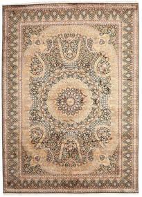 Kashmir 100% Silkki Matto 246X345 Itämainen Käsinsolmittu Ruskea/Tummanruskea (Silkki, Intia)