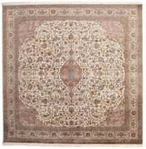 Kashmir 100% Silkki Matto 240X240 Itämainen Käsinsolmittu Neliö Vaaleanharmaa/Tummanruskea (Silkki, Intia)