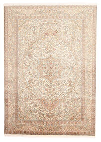 Kashmir 100% Silkki Matto 170X246 Itämainen Käsinsolmittu Beige/Vaaleanpunainen (Silkki, Intia)